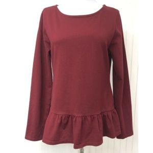 J.Crew NWT Knit Peplum Top Cotton Ruffle Hem L/S